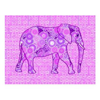 Cartão Postal Elefante do redemoinho do Fractal - roxo e