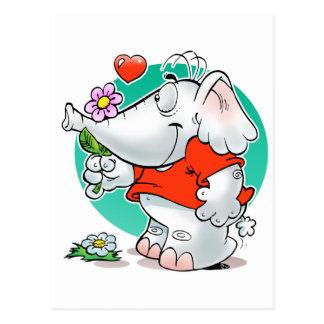 Cartão Postal elefante doce dos casos amoroso com flor