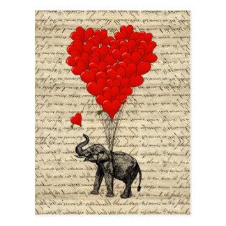 Cartão Postal Elefante e balões dados forma coração