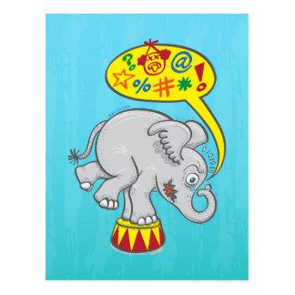 Cartão Postal Elefante irritado do circo que diz palavras más