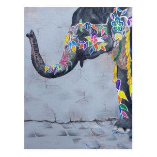 Cartão Postal Elefante pintado