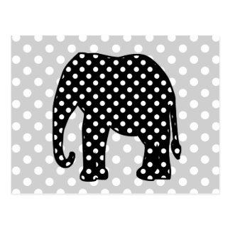 Cartão Postal Elefante preto e branco das bolinhas