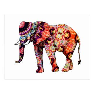 Cartão Postal Elefante psicadélico colorido do art deco