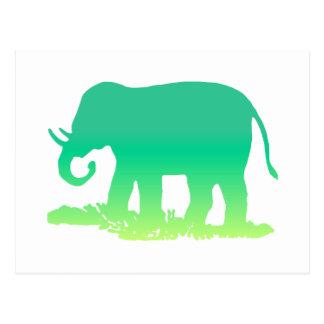 Cartão Postal Elefante verde