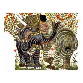 Cartão Postal Elefantes afectuosos, decorados