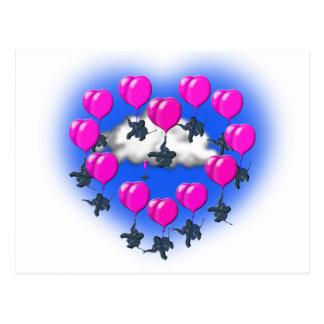 Cartão Postal elefantes do vôo em uma forma do coração