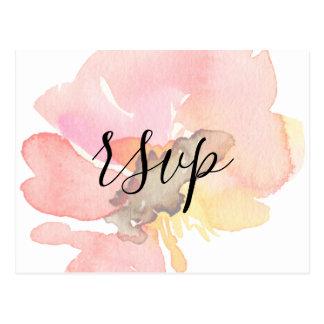 Cartão Postal Elegante cora a aguarela RSVP floral do pêssego