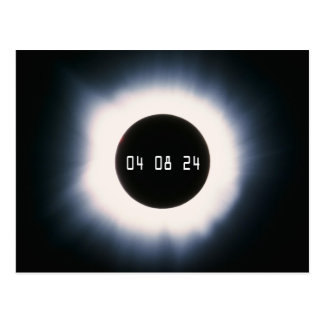 Cartão Postal Em abril de 2024 eclipse solar total em preto e
