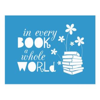 Cartão Postal Em cada livro um mundo inteiro