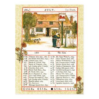 Cartão Postal Em julho de 1884 almanaque.  Leo, o leão