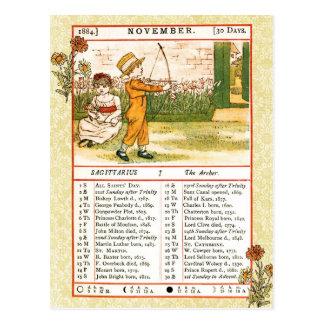 Cartão Postal Em novembro de 1884 almanaque.  Sagitário,