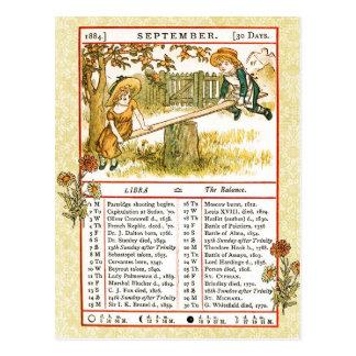 Cartão Postal Em setembro de 1884 almanaque.  Libra, o