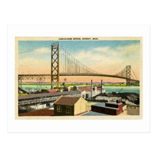 Cartão Postal Embaixador Ponte vintage de Detroit, Michigan
