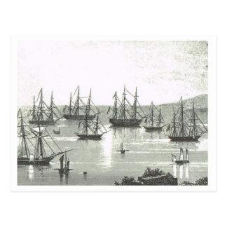 Cartão Postal Embarcações de troca na âncora em Singapore1800s