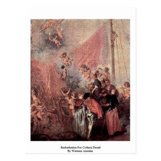 Cartão Postal Embarque para o detalhe de Cythera por Watteau