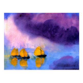 Cartão Postal Emil Nolde - mar com nuvens e os veleiros violetas