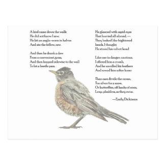 """Cartão Postal Emily Dickinson """"cartão do poema no jardim"""""""