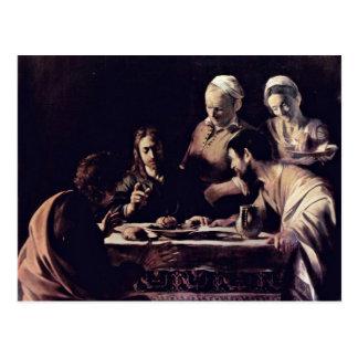 Cartão Postal Emmausmahl por Michelangelo Merisi a Dinamarca