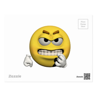 Cartão Postal Emoticon irritado amarelo ou smiley