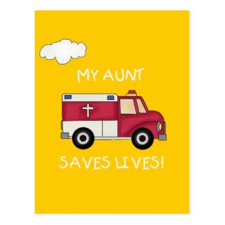 Cartão Postal EMT minha tia Salvamento Vida T-shirt e presentes