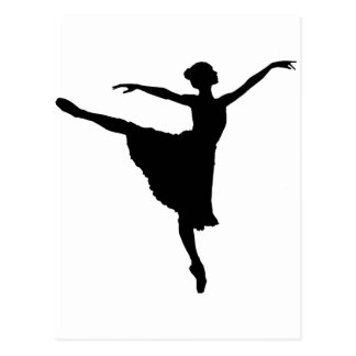 Cartão Postal En Pointe da BAILARINA (silhueta) do dançarino de