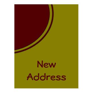 Cartão Postal Endereço novo do círculo vermelho amarelo