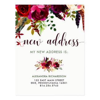 Cartão Postal Endereço | novo floral de Boho