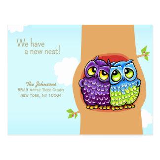Cartão Postal Endereço novo movido do ninho de amor das corujas
