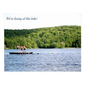 Cartão Postal Endereço novo no anúncio movente do lago