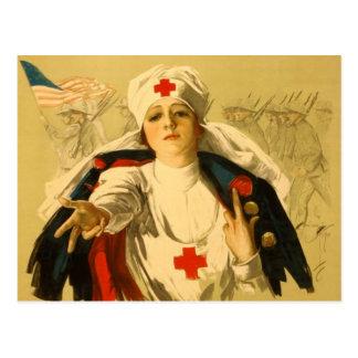 Cartão Postal Enfermeira da cruz vermelha do vintage