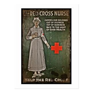 Cartão Postal Enfermeira que pede as doações WWI