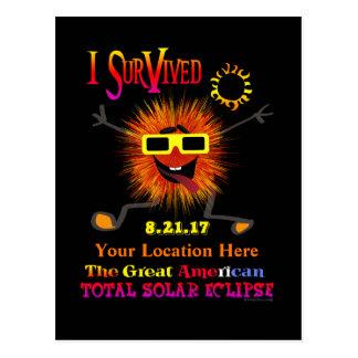 Cartão Postal Engraçado eu sobrevivi ao grande eclipse solar