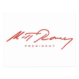 Cartão Postal Engrenagem da assinatura de Romney