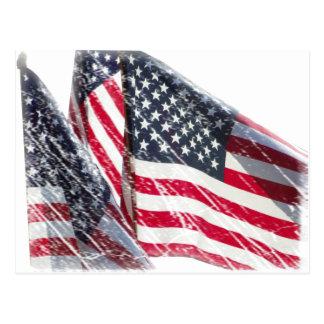 Cartão Postal Entalhe da bandeira americana