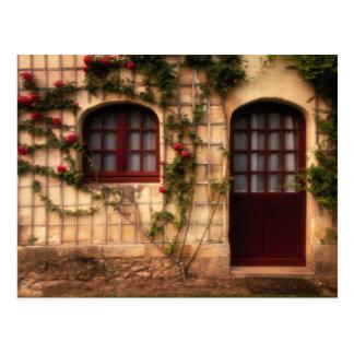 Cartão Postal Entrada da casa de campo cor-de-rosa