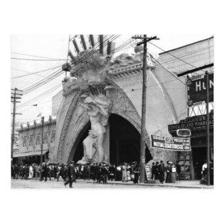 Cartão Postal Entrada do anjo de Coney Island do vintage no