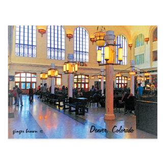 Cartão Postal Entrada Remolded lindo, estação da união, Denver,