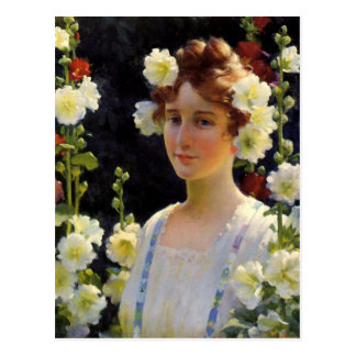 Cartão Postal Entre os Hollyhocks por Charles Courtney Curran