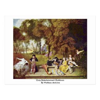 Cartão Postal Entretenimento acolhedor fora por Watteau Antoine