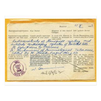 Cartão postal enviado em 1963, de um laboratório
