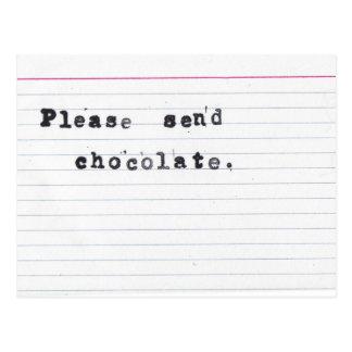 Cartão Postal Envie por favor o chocolate