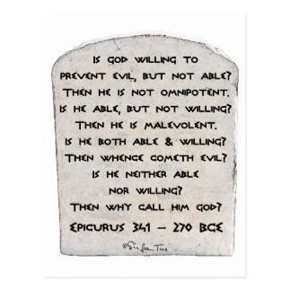 Cartão Postal Epicurus - por que o chame deus?