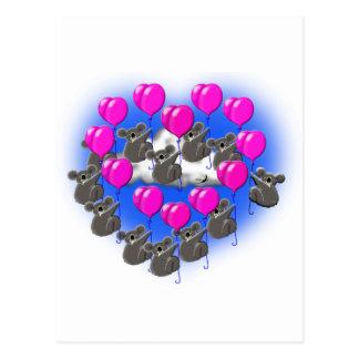Cartão Postal equipe da formação do vôo do koala (coração)