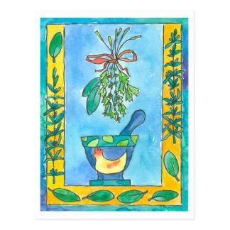Cartão Postal Ervas do cozinhar do louro de baía de Rosemary