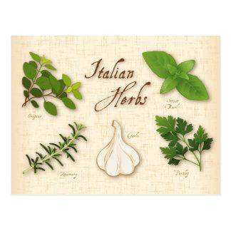 Cartão Postal Ervas italianas, manjericão, Oregano, salsa, alho