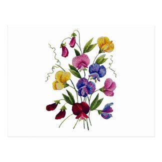 Cartão Postal Ervilhas doces bonitas, coloridas, bordadas