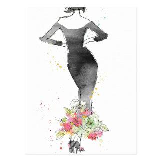 Cartão Postal Esboço chique selvagem do vestido floral de Apple