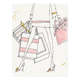 Cartão Postal Esboço cor-de-rosa moderno selvagem da forma de
