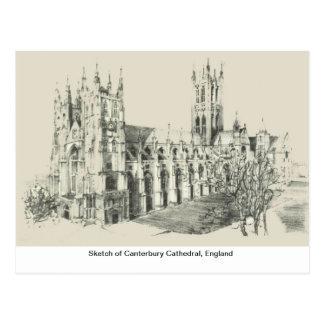 Cartão Postal Esboço da catedral de Canterbury, Inglaterra