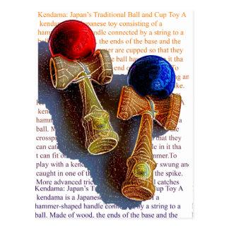 Cartão Postal Esboço de Kendama, vermelho e azul da cor da tinta